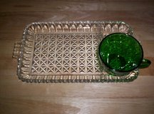 1940's CRYSTAL/FOREST GREEN 8-PC. SERVA-SNACK SET IN ORIG. BOX in Camp Lejeune, North Carolina